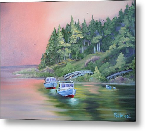 Boat Fish Pond Lake Ocean Sea Tree Bridge Landscape Water Scape Dingy Orange Purple Red Blue Cream Metal Print featuring the painting Goin Fishin by Sherry Winkler