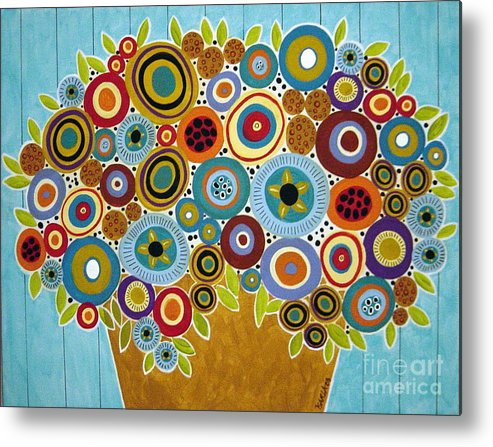 Flowers Metal Print featuring the painting Golden Pot Of Blooms by Karla Gerard