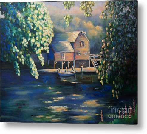 Landscape Metal Print featuring the painting Grist Mill 2 by Marlene Book