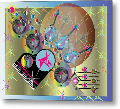 Guitar.giclee Metal Print featuring the digital art Guitar Music With Piano by George Pasini