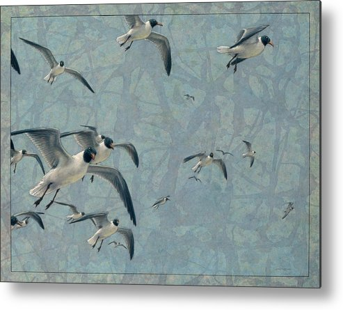 Gulls Metal Print featuring the painting Gulls by James W Johnson