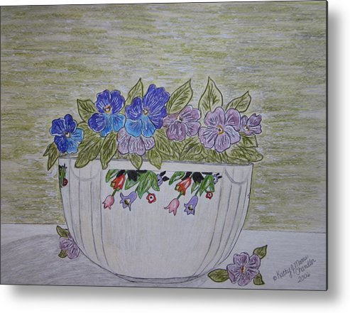 Hall China Metal Print featuring the painting Hall China Crocus Bowl With Violets by Kathy Marrs Chandler