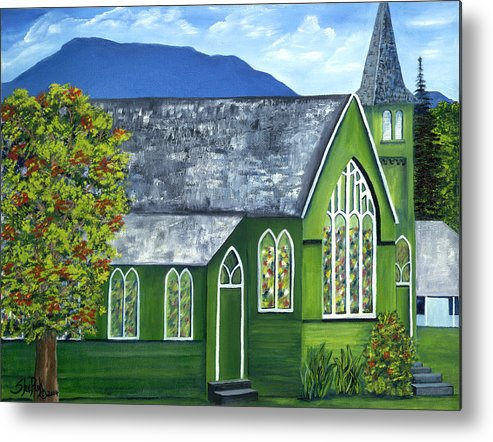 Landscape Metal Print featuring the painting Hanalei Church by SheRok Williams