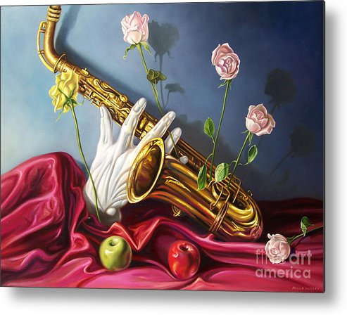 Still Life Metal Print featuring the painting Hand And Sax by Arnold Hurley