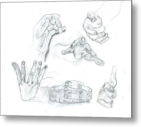 Metal Print featuring the drawing Hands by Joseph Arico