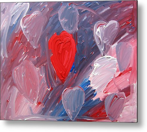 Hearts Metal Print featuring the painting Hearts by Kiely Holden