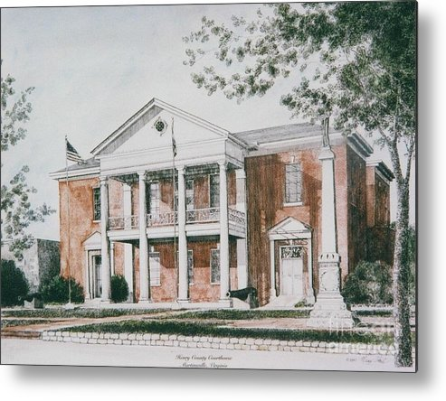 Custom Art Pen And Ink And Watercolor Metal Print featuring the painting Henry County Courthouse by Maggie Clark