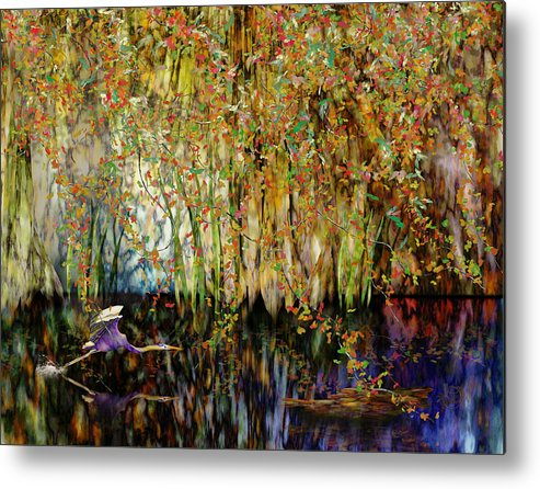 Heron Metal Print featuring the digital art Heron Cove by Gae Helton
