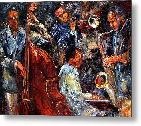 Jazz Metal Print featuring the painting Hot Jazz Three by Debra Hurd