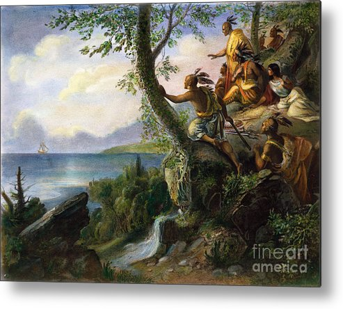 1609 Metal Print featuring the painting Hudson: New York, 1609 by Granger