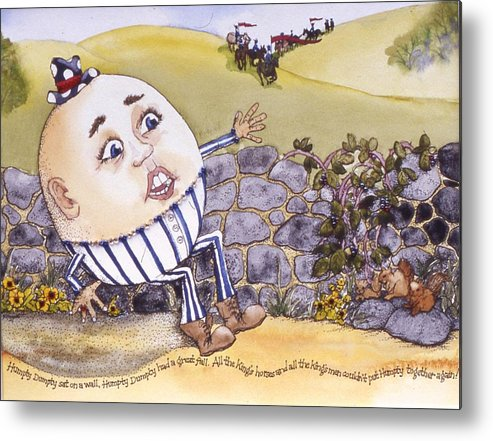 Humpty Dumpty Metal Print featuring the painting Humpty Dumpty by Victoria Heryet