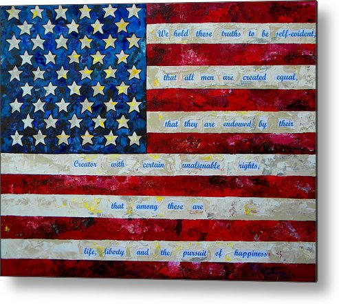 American Flag Metal Print featuring the painting I Believe by Patti Schermerhorn