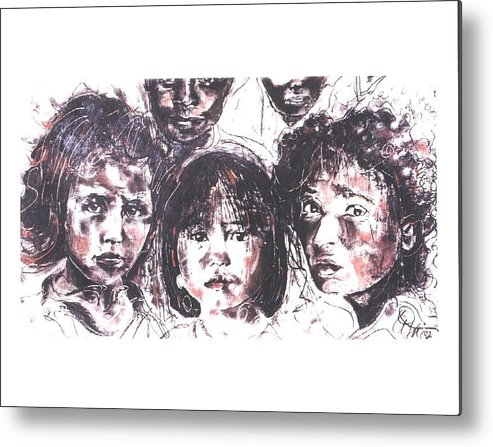 Children Metal Print featuring the drawing I See The Future... by Lynn Gray