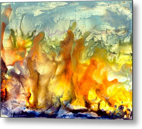 Encaustic Metal Print featuring the painting If Flames Could Speak by Heather Hennick