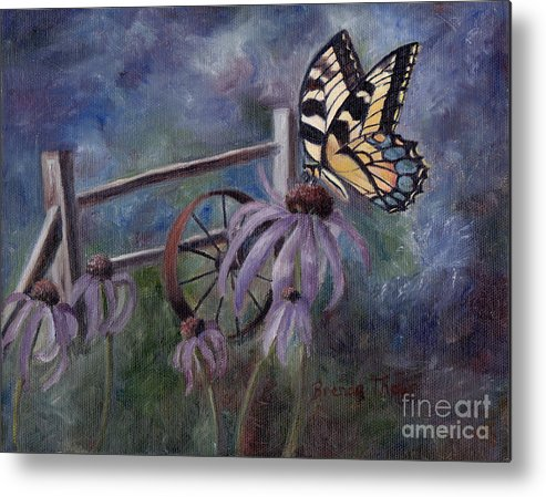 Butterfly Metal Print featuring the painting In The Garden by Brenda Thour