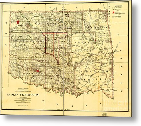 Reproduction Metal Print featuring the drawing Indian Territory by Pg Reproductions