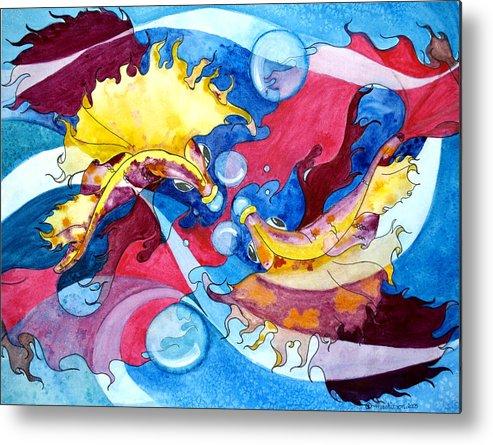 Joyce Hutchinson Metal Print featuring the painting Infinite Fishdance by Joyce Hutchinson