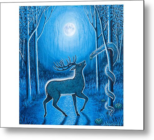 Deer Metal Print featuring the painting Invitation by James RODERICK