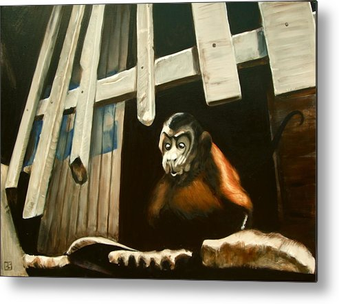 Monkey Metal Print featuring the painting Iquitos Monkey by Chris Slaymaker