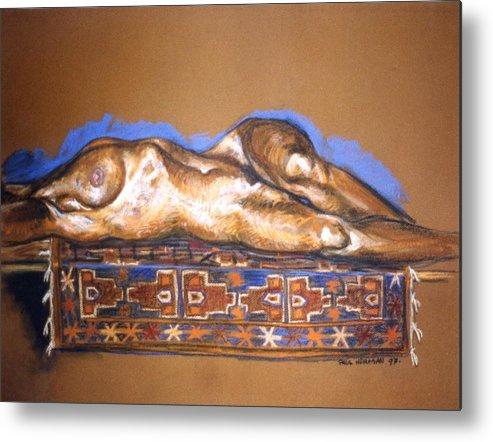 Nude Metal Print featuring the painting Isabel On Afghan Carpet by Paul Herman