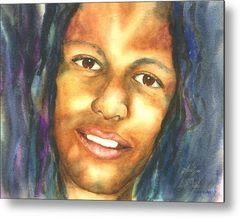 Portrait Metal Print featuring the painting Jamaican Boy by Gladys Folkers