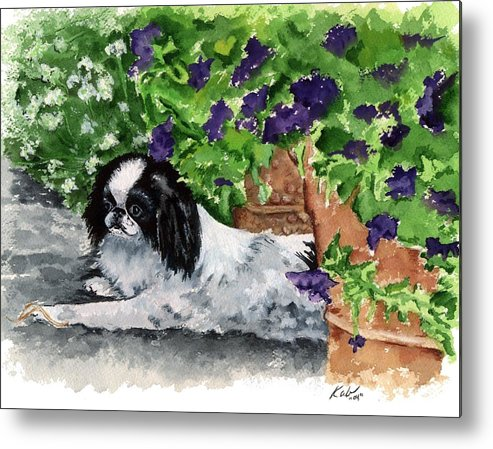 Japanese Chin Metal Print featuring the painting Japanese Chin Puppy And Petunias by Kathleen Sepulveda