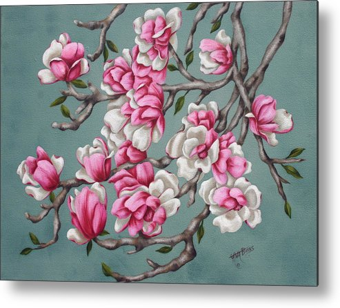 Oil Metal Print featuring the painting Japenese Magnolia by Ruth Bares