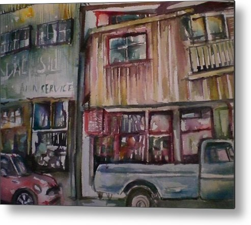 Buildings Metal Print featuring the painting Jerome by Aleksandra Buha