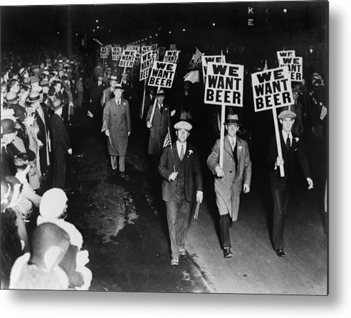 Historical Metal Print featuring the photograph Labor Union Members Protesting by Everett