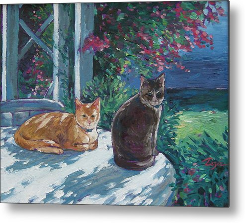 Pet Portraits Metal Print featuring the painting Lady And Lucy by Karen Doyle
