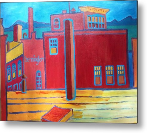 Landscape Metal Print featuring the painting Lake Champlain Rooftop View by Debra Bretton Robinson