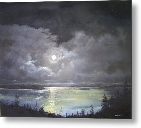 Moonscape Metal Print featuring the painting Lake Shore Moonscape by Ken Ahlering