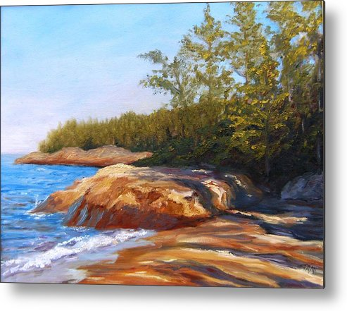 Metal Print featuring the painting Lake Shore by Tami Booher