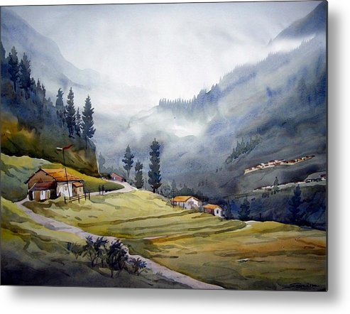 Mountain Metal Print featuring the painting Landscape Of Himalayan Mountain by Samiran Sarkar