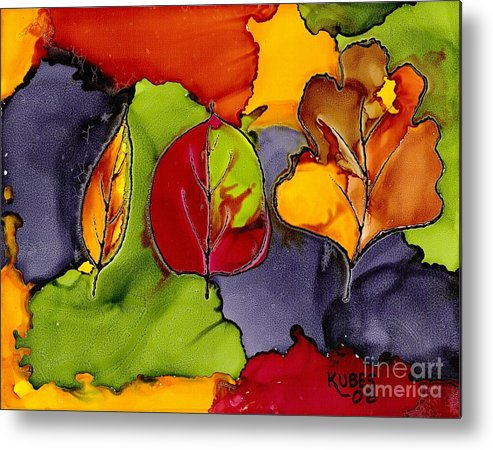 Leaf Metal Print featuring the painting Leaf Brilliance by Susan Kubes