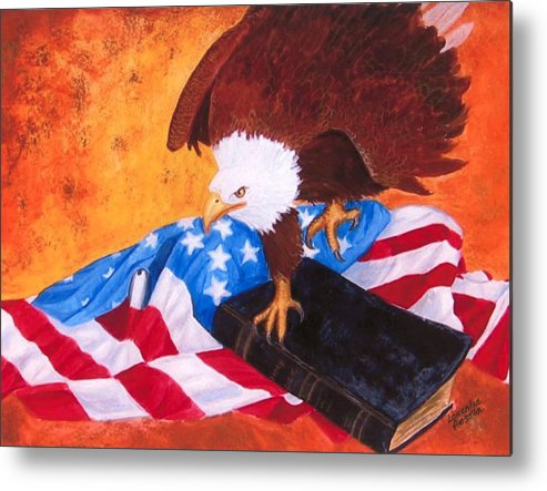 Eagle Metal Print featuring the painting Lest We Forget by Lorraine Foster