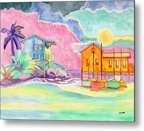 Green Metal Print featuring the painting Lighthouse Cove by Connie Valasco
