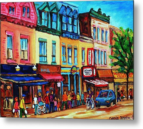 Cityscape Metal Print featuring the painting Lineup For Smoked Meat Sandwiches by Carole Spandau