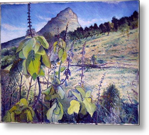 Signal Hill Cape Town South Africa Metal Print featuring the painting Lions Head From Signal Hill Cape Town South Africa 2006 by Enver Larney