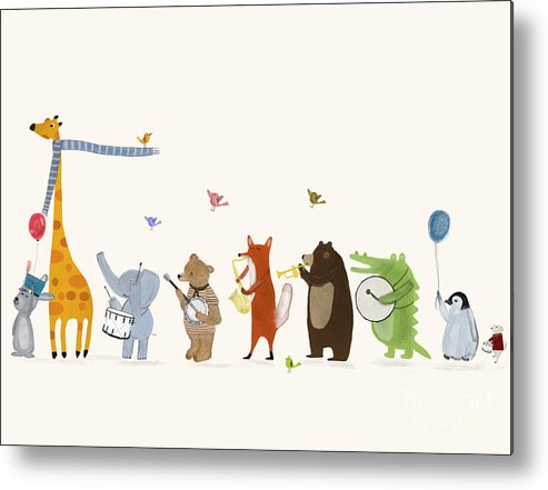 Childrens Metal Print featuring the painting Little Parade by Bri Buckley
