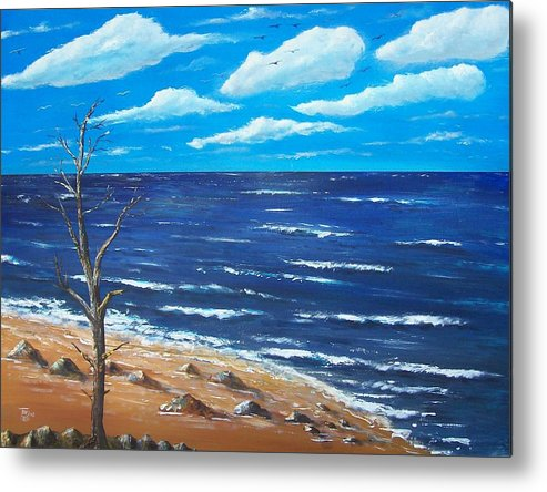 Seascape Metal Print featuring the painting Lone Tree Seascape by Tony Rodriguez