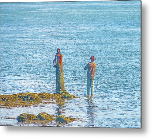 People Metal Print featuring the photograph Lonesome Angler by Stanley Jayne