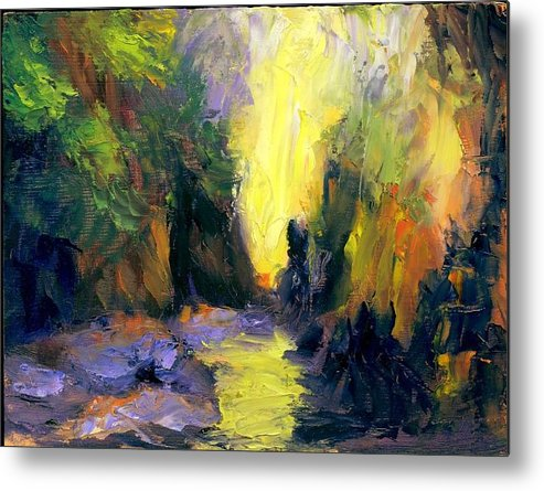 Landscape Metal Print featuring the painting Lost Creek by Gail Kirtz