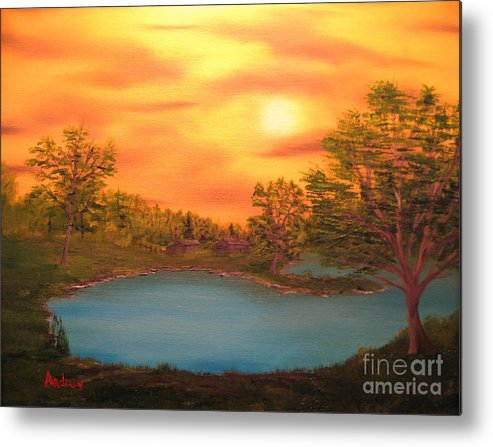 Landscape Metal Print featuring the painting Lost Lake by Todd Androy