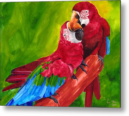 Macaw Metal Print featuring the painting Love Macaws by Dawnstarstudios