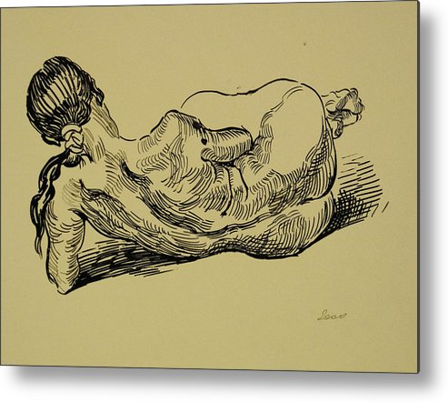 Woman Metal Print featuring the drawing Lying Nude Woman by Vitali Komarov