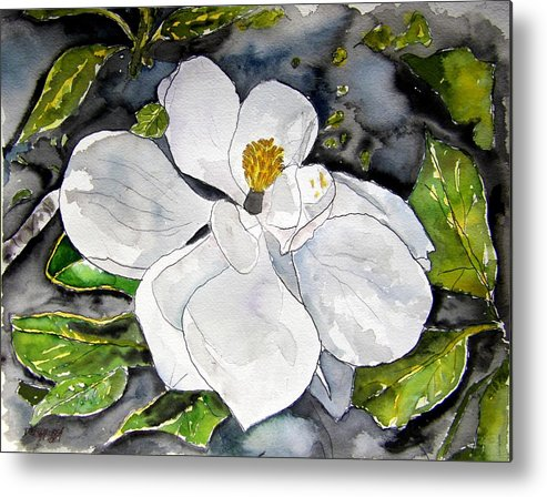 Magnolia Metal Print featuring the painting Magnolia Tree Flower by Derek Mccrea