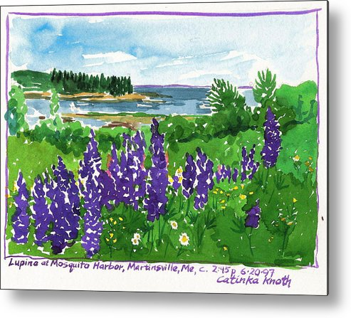 Purple Lupine Metal Print featuring the painting Maine Coast Purple Lupine Art by Catinka Knoth