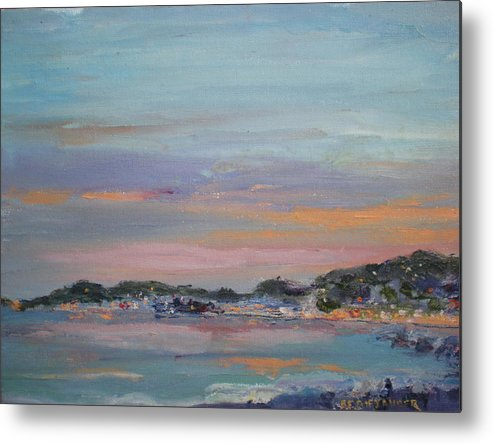 Sea Dusk Sunset Twilight Metal Print featuring the painting Mediterranean At Dusk Nice France by Bryan Alexander