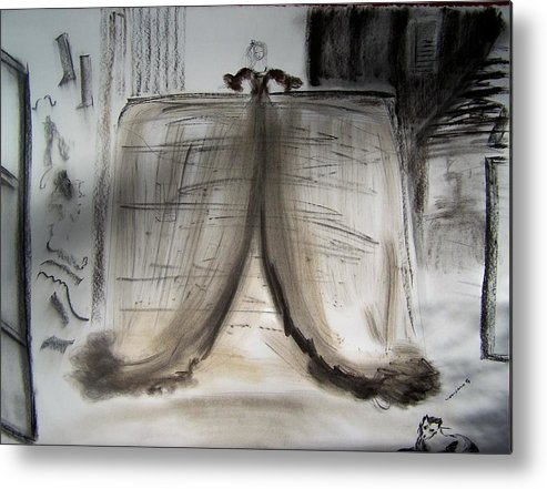 Charcoal Metal Print featuring the drawing Meninas Castle by Geraldine Liquidano